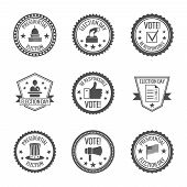 stock photo of politician  - Government and presidential politician elections and voting labels set with candidates ballots megaphone isolated vector illustration - JPG