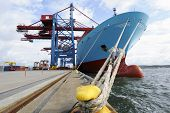 pic of ship  - container ship mired at quayside - JPG