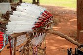 stock photo of indian chief  - native american indian chief headdress   - JPG