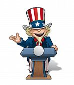foto of uncle  - Vector Cartoon Illustration of Uncle Sam on the podium giving a speech with an open expression - JPG