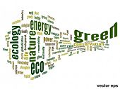 Vector eps concept or conceptual 3D abstract green ecology and conservation word cloud text on white