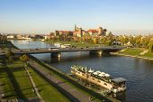KRAKOW, POLAND - OCT 20, 2013: View of the Vistula River in the historic city center. Vistula is the