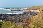 foto of st ives  - Godrevy lighthouse and island St Ives Bay Cornwall coast England UK facing the Atlantic Ocean within Area of Outstanding Natural Beauty and features the South West Coast Path - JPG