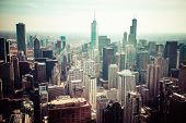 foto of skyscrapers  - Chicago Skyline Aerial View in Chicago USA - JPG
