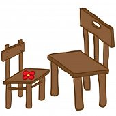 small and big chair cartoon illustration