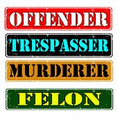stock photo of felon  - Set of stamps offender felon vector illustration - JPG