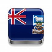 stock photo of falklands  - Metal square icon with flag colors of Falkland Islands - JPG