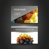 Business or Gift Card Design with Colorful Hexagon Pattern