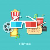 illustration of 3d glasses with film stripe and pop corn