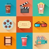 pic of boarding pass  - illustration of flat style movie and film icon set - JPG