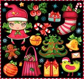 stock photo of christmas cards  - Vector set of Christmas design elements - JPG