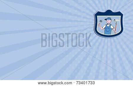 Business Card House Painter Holding Paintbrush Roller Cartoon