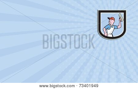 Business Card Plasterer Masonry Worker Shield Cartoon