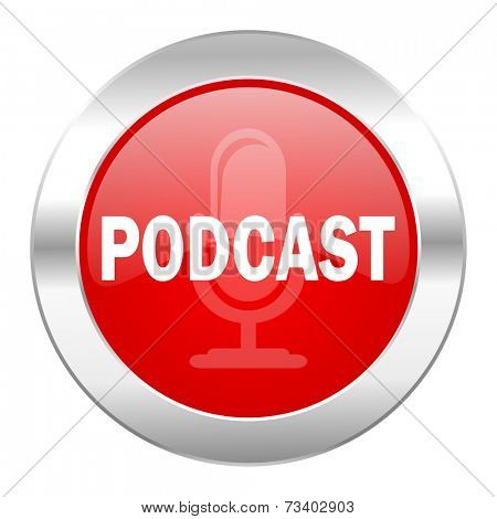 podcast red circle chrome web icon isolated
