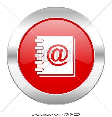 address book red circle chrome web icon isolated