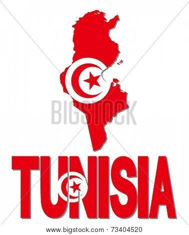 Tunisia map flag and text vector illustration