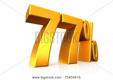 3D Render Text In 77 Percent In Gold