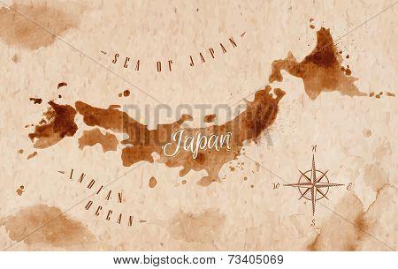 Map Japan retro