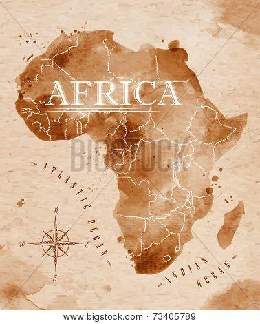 Map Africa retro
