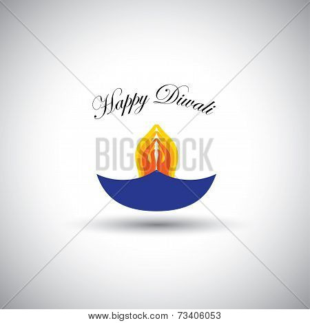 Diwali Or Deepawali Lamp With Namaste As Fire - Vector Graphic Icon