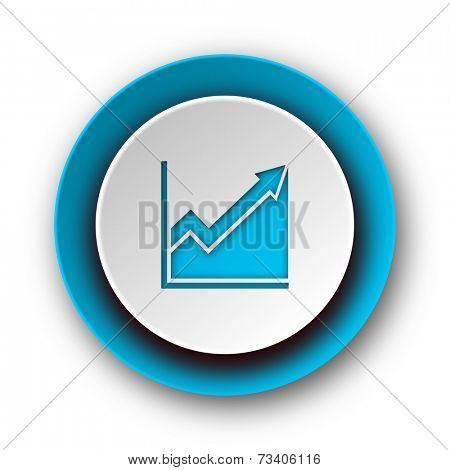 histogram blue modern web icon on white background