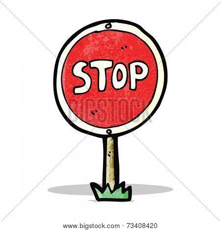 cartoon stop sign