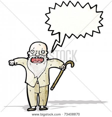cartoon old man shouting
