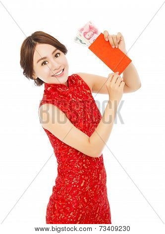 Asian Woman Holding A Red Envelope  For Happy Chinese New Year