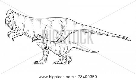 vector - dinosaurs family , isolated on background