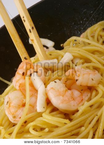 Seafood Pasta. Close Up In A Freeing Pan