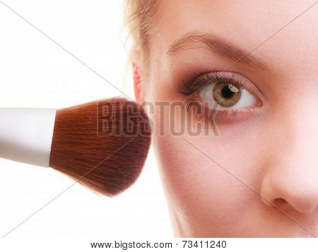 Part Of Woman Face Applying Rouge Blusher Makeup Detail.