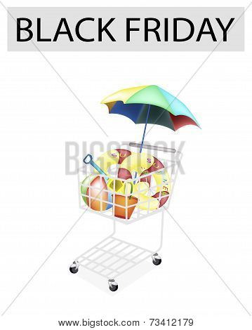 Beach Items in Black Friday Shopping Cart