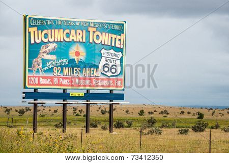 Route 66 Billboard Tucumcari Tonite!