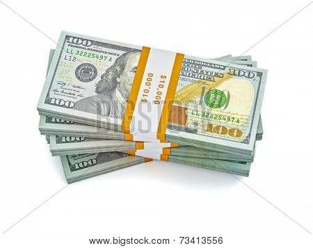 Creative business finance making money concept - stack of new new 100 US dollars 2013 edition banknotes (bills) bundles isolated on white background money stack on white