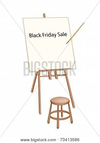 Wooden Artist Easel With Word Black Friday Sale