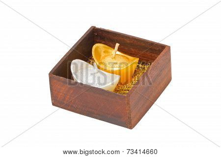 Artificial Wedding Souvenir Candles In Wooden Box Isolated On White Background.