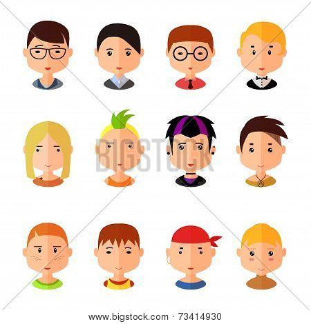 Vector set of cartoon avatar flat boy icons