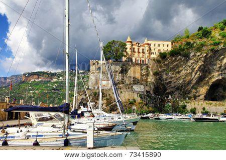scenic Amalfi coast - Minori village, view with yachts and castl