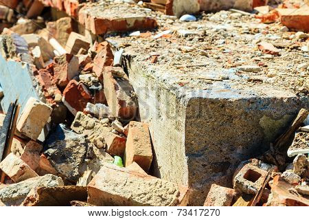 Construction Site. Closeup Stack Of Old Bricks.