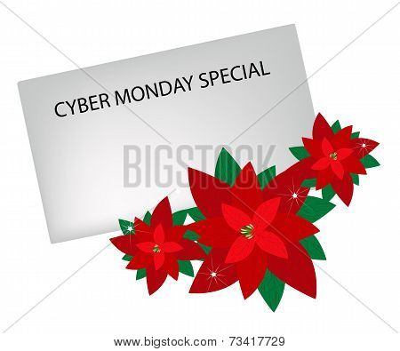 Lovely Red Poinsettia Flowers with Cyber Monday Letter