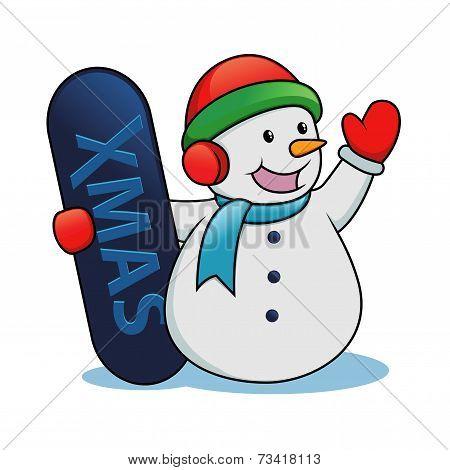 Snowman Holding Snow Board