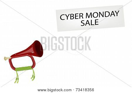 A Musical Bugle Blowing Cyber Monday Flag