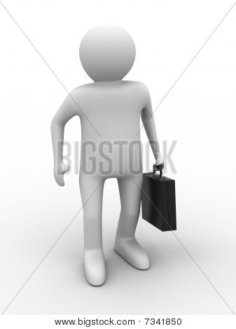 Businessman On White Background. Isolated 3D Image