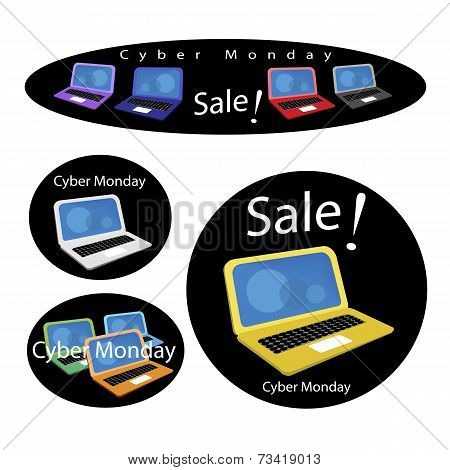 Mobile Computer on Cyber Monday Sale Background