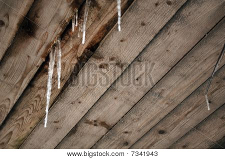Icicles on Wooden Roof