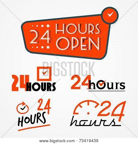 Twenty four hours labels set