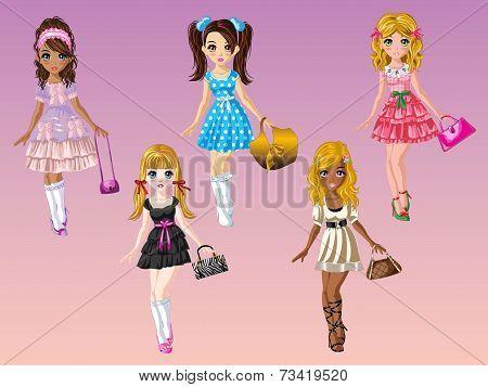 Cartoon Girls With Fashion Dress Up