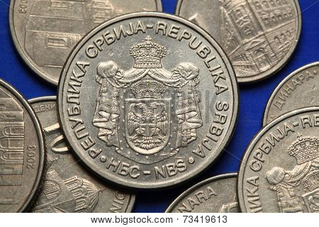 Coins of Serbia. Serbian national coats of arms depicted in Serbian dinar coins.