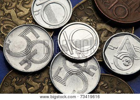 Coins of the Czech Republic. Old Czech heller coins.