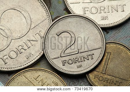 Coins of Hungary. Hungarian two forint coin.